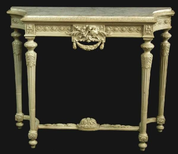 1206: EARLY FRENCH MARBLE TOP CONSOLE TABLE