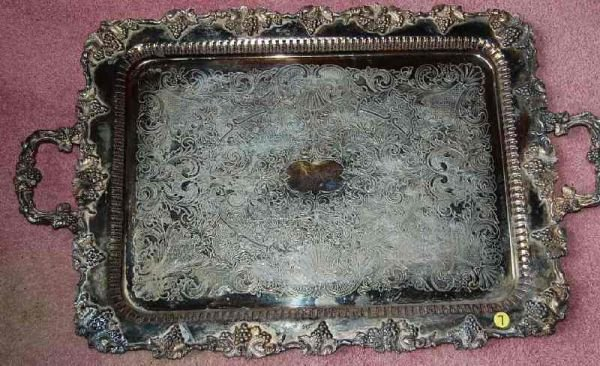 7: VINTAGE HIGH-STYLE SILVER PLATE SERVING TRAY