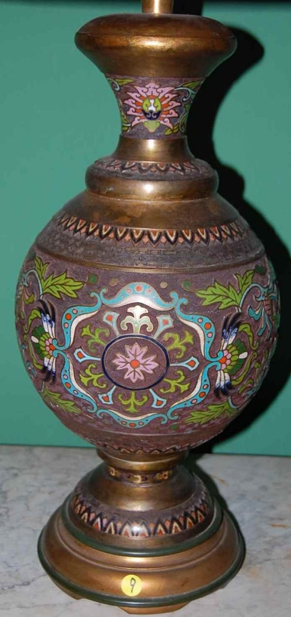 9: PAIR OF ENAMEL CLOISONNE LAMPS