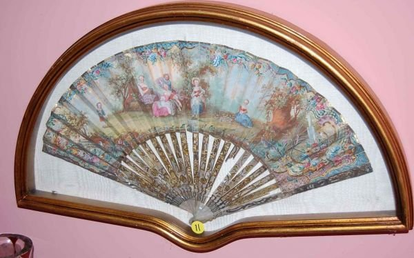 11: HAND PAINTED FAN DISPLAYED IN GILT SHADOWBOX