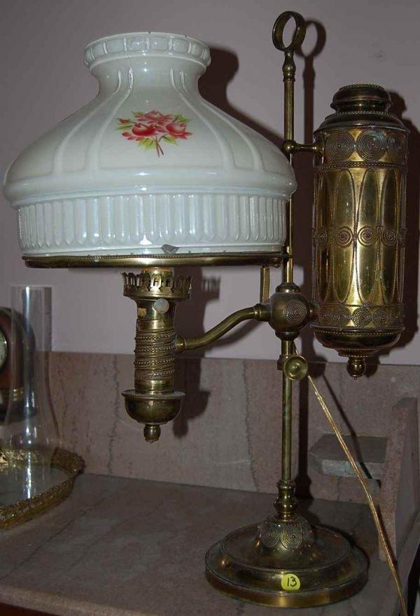 13: ELABORATE BRASS STUDENT LAMP