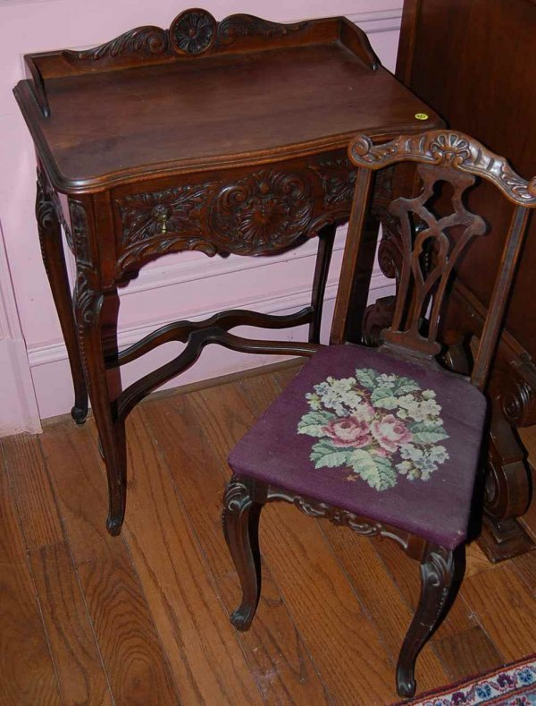 30: FRENCH STYLE WRITING DESK AND CHAIR