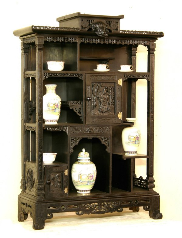 15: Oriental Dragon Carved Cabinet