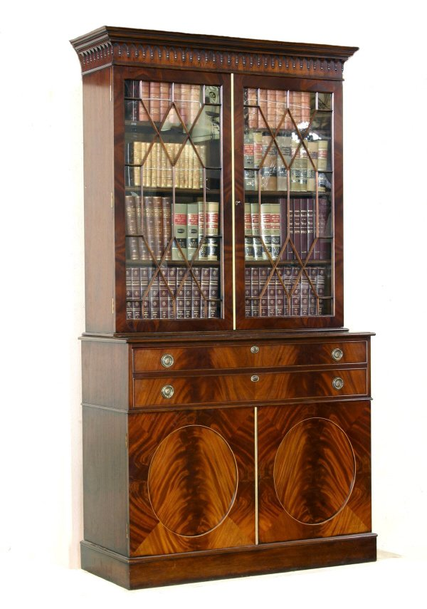 17: Georgian Style Mahogany Secretaire Bookcase