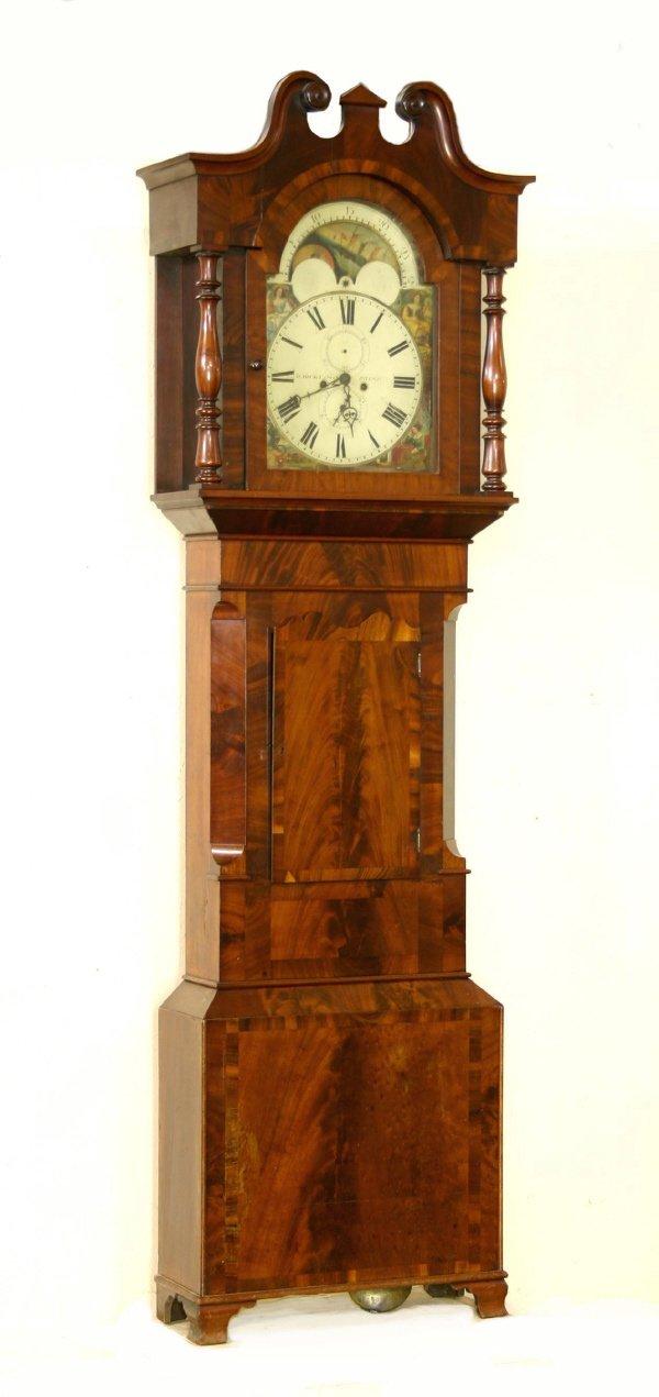 21: Mahogany 8 Day Grandfather Clock Circa 1840