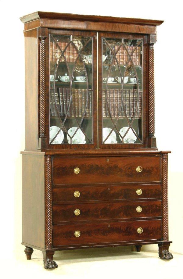 31: William IV Mahogany Bureau Bookcase
