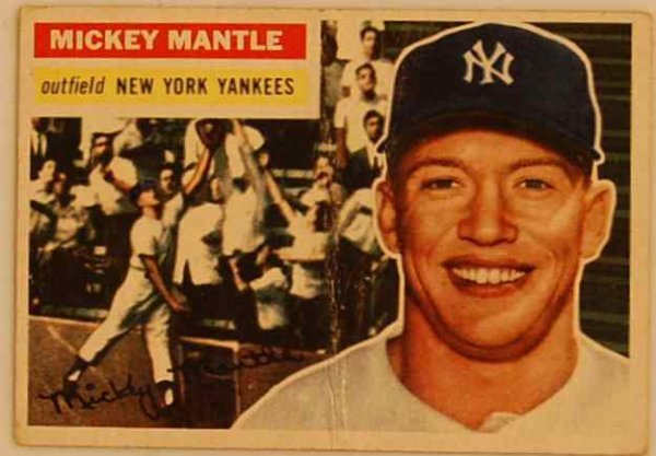 12: MICKEY MANTLE 1956 BASEBALL CARD