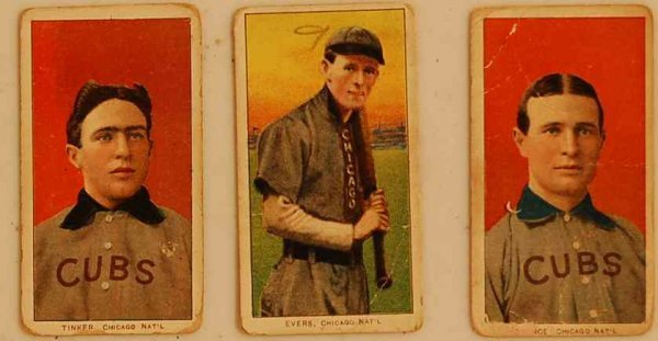 24: TINKERS, EVERS, CHANCE RARE TRYTIC TOBACCO CARDS