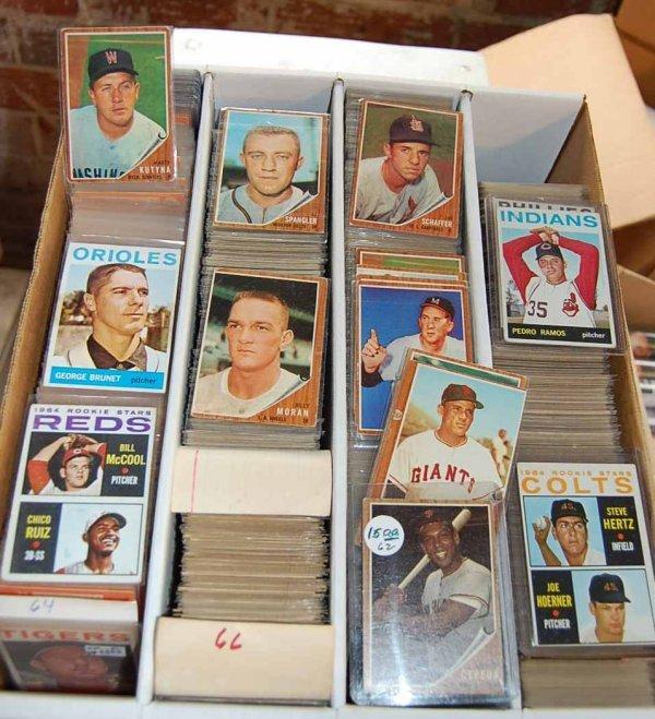 51: BOX OF 1962, 1964, 1966 TOPPS BASEBALL CARDS