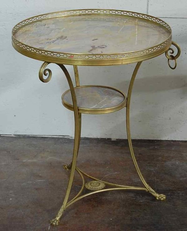 2004: PAIR OF FRENCH BRONZE MARBLE TOP TABLES