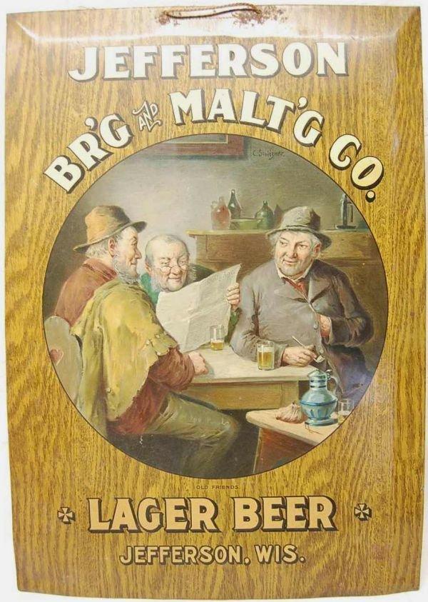 211: JEFFERSON BREWING & MALT'G CO. TIN LITHO SIGN
