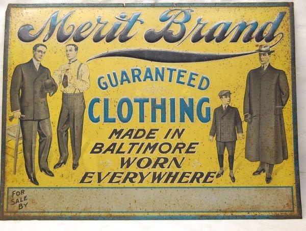 209: MERIT BRAND CLOTHING TIN LITHO SIGN