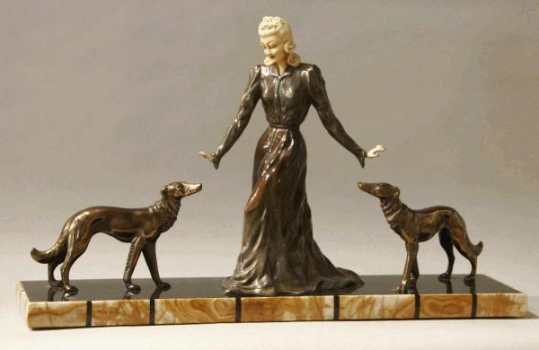 1: ART DECO FIGURE OF LADY WITH WHIPPETS