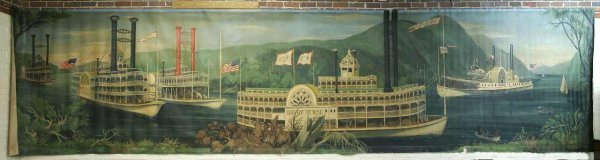 45: MONUMENTAL RIVER BOAT MURAL FROM EMPIRE STATE BLG.