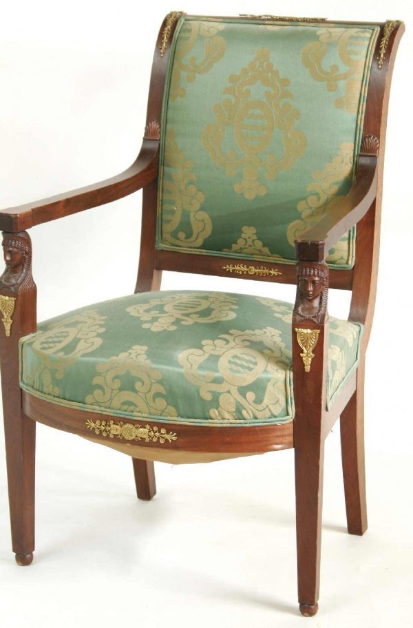 10: FRENCH EMPIRE SPHINX HEAD ARM CHAIR