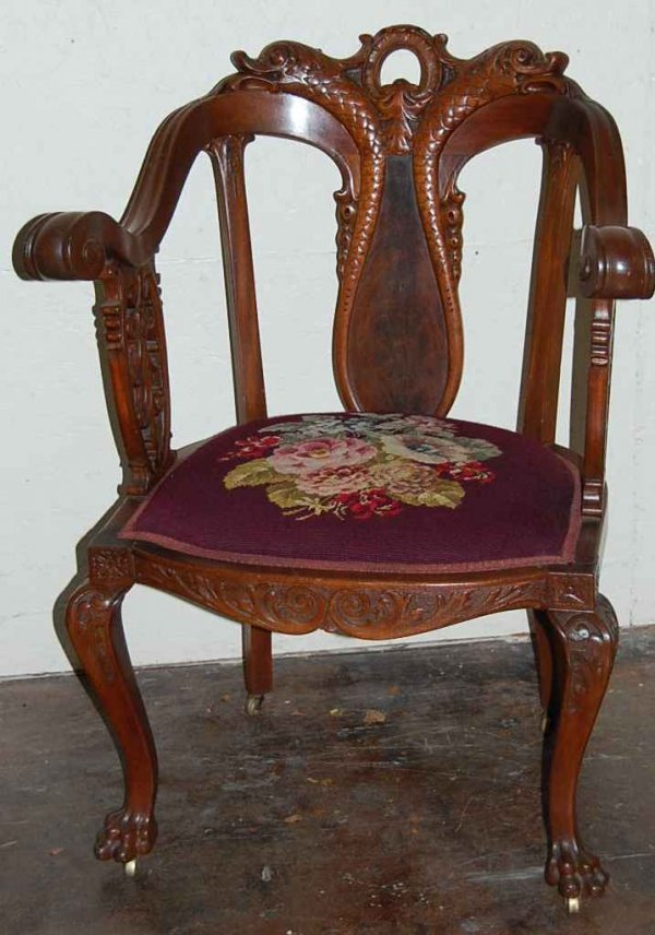 14: RARE DOLPHIN CREST CLAW FOOT ARM CHAIR