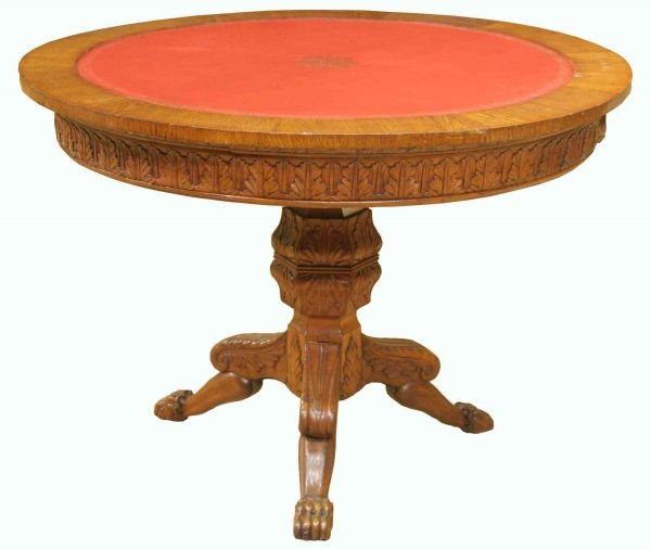 10: ROUND OAK CLAW FOOT CENTER TABLE