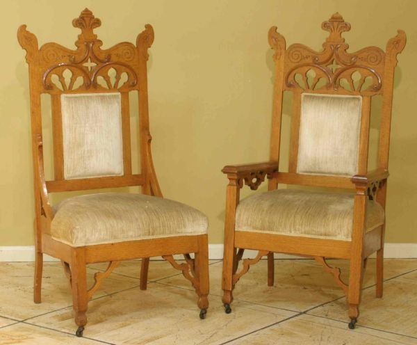 14: PAIR OF CARVED OAK GOTHIC HALL CHAIRS