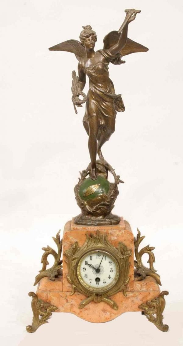 7: FRENCH MARBLE AND SPELTER MANTLE CLOCK