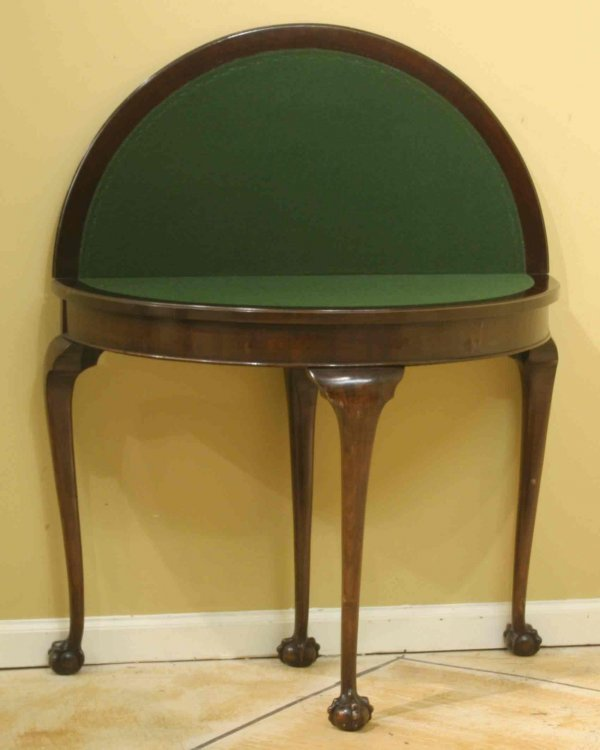 8: DEMI LUNE CHIPPENDALE GAME TABLE