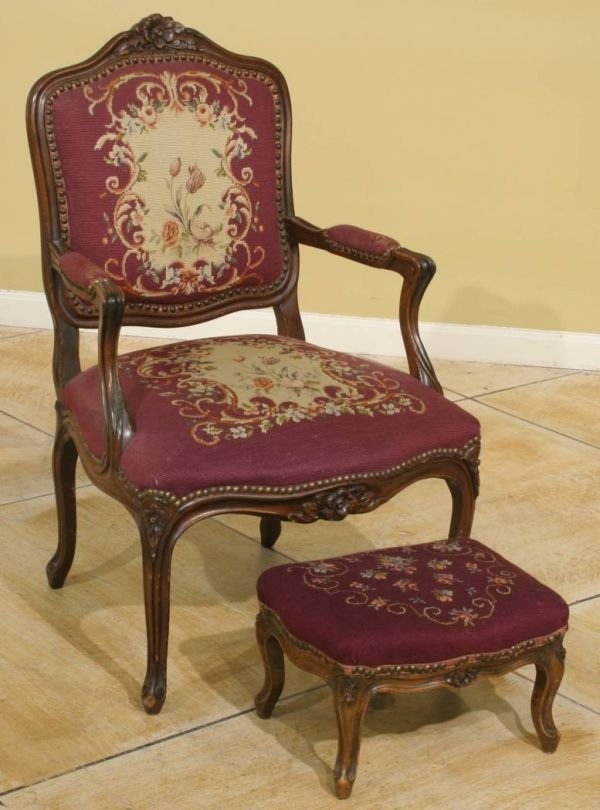 1006: FRENCH FLORAL NEEDLEPOINT ARM CHAIR