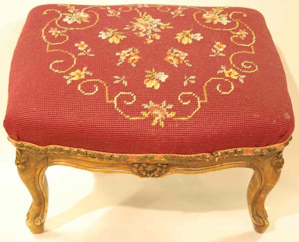1007: FRENCH NEEDLEPOINT FOOT STOOL