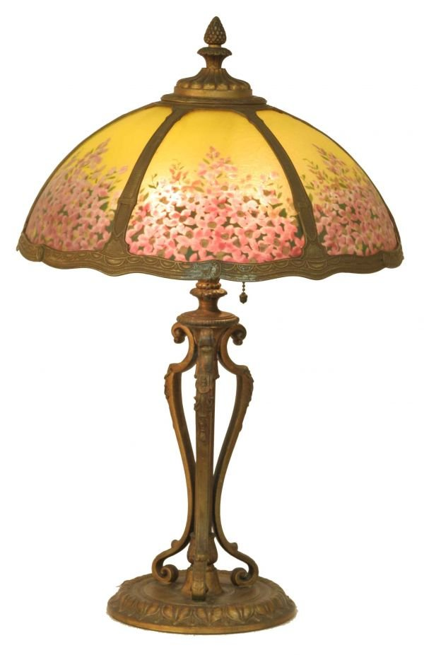 1013: REVERSE PAINTED FLORAL LAMP