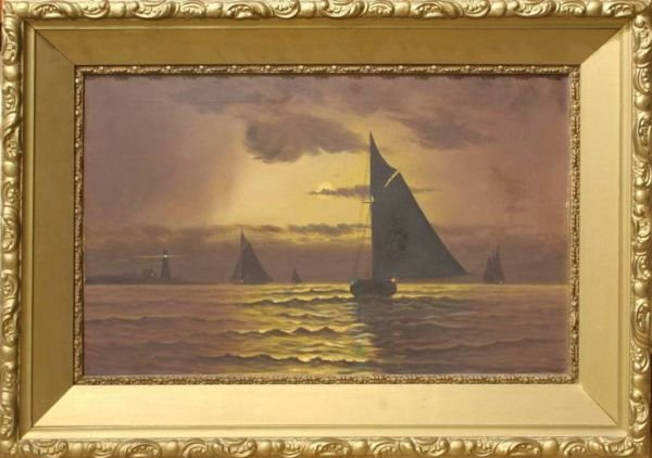 1015: OIL ON CANVAS OF SHIPS