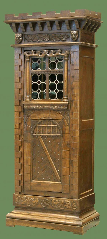 1048: RARE GOTHIC CASTLE CABINET