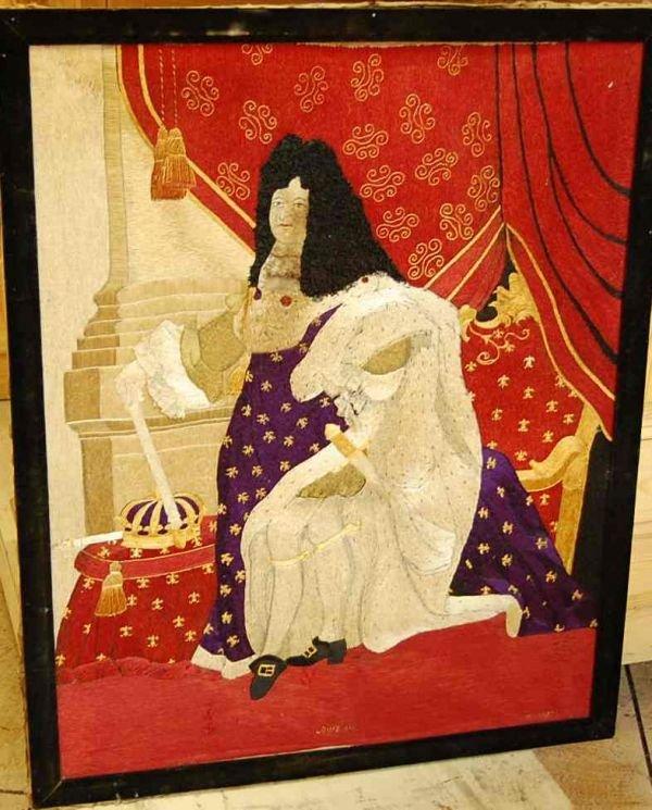 1009: FRAMED NEEDLEWORK OF KING LOUIS XIV