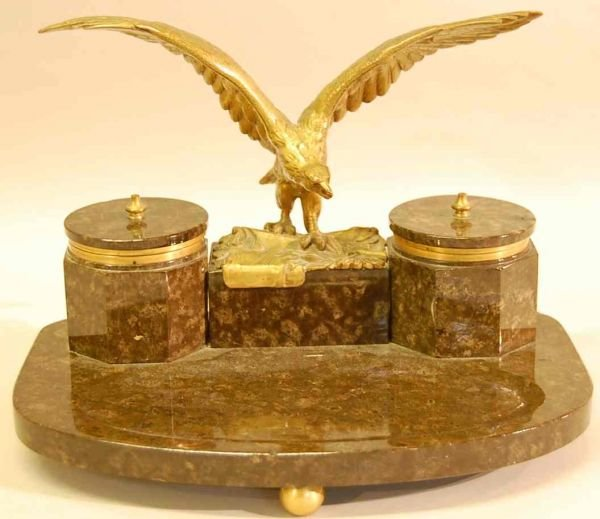 1019: MARBLE & BRONZE EAGLE INKWELL