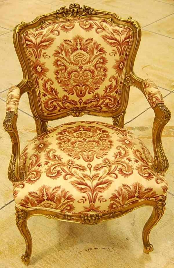 6: PAIR OF FRENCH GILT LOUIS XV STYLE ARM CHAIRS