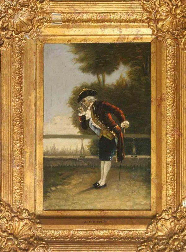 5: J. MEROLA OIL PAINTING OF GENTLEMAN IN GARDEN