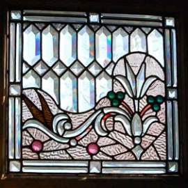 7: PAIR OF LEADED BEVELED AND STAIN GLASS WINDOWS