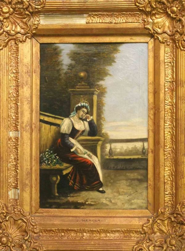 15: J. MEROLA OIL PAINTING OF YOUNG LADY IN GARDEN