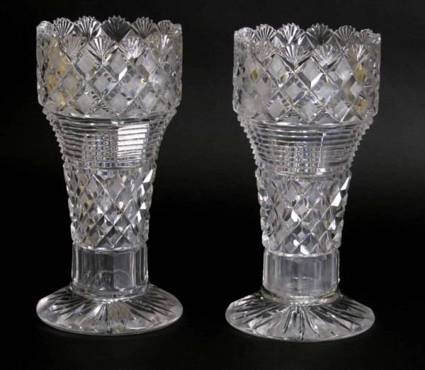 19: PAIR OF EARLY CUT GLASS VASES