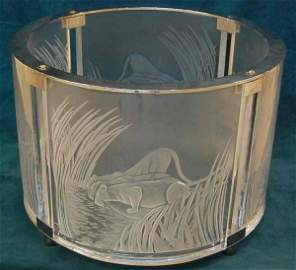 540: SIGNED MARIE CLAUDE LALIQUE LION COCKTAIL TABLE