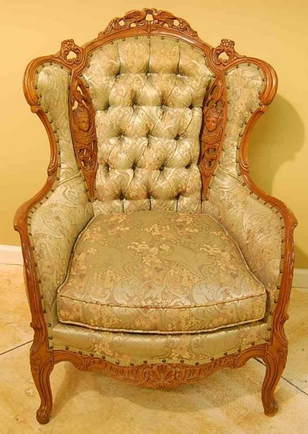 502: FRENCH LOVEBIRD WING CHAIR