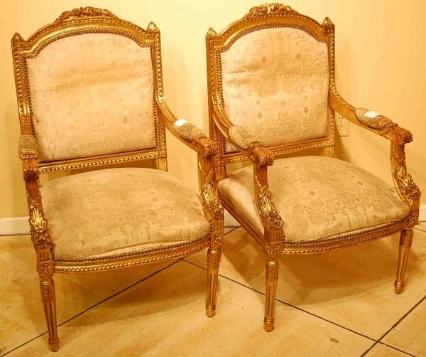 526: PAIR OF FRENCH GILT ARM CHAIRS
