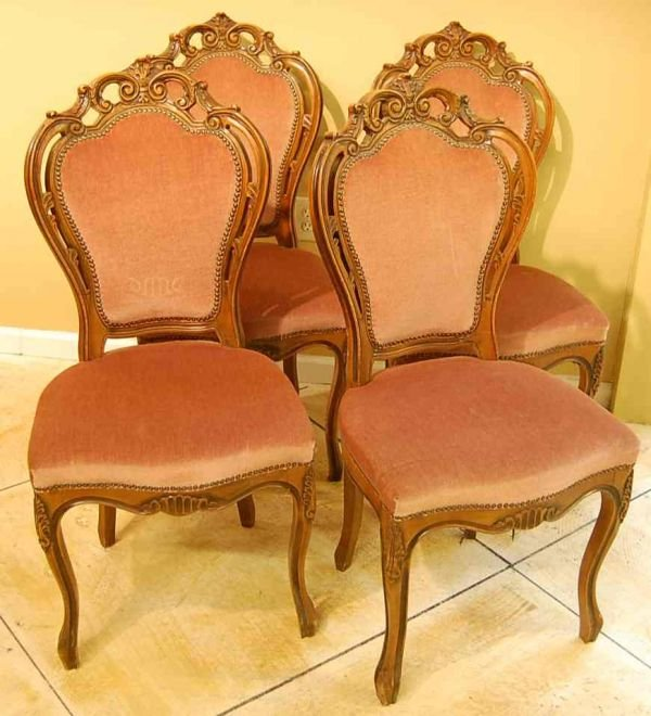 508: SET OF FOUR ROCOCCO DINING CHAIRS