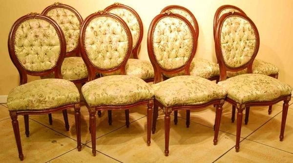 516: SET OF EIGHT FRENCH DINING CHAIRS