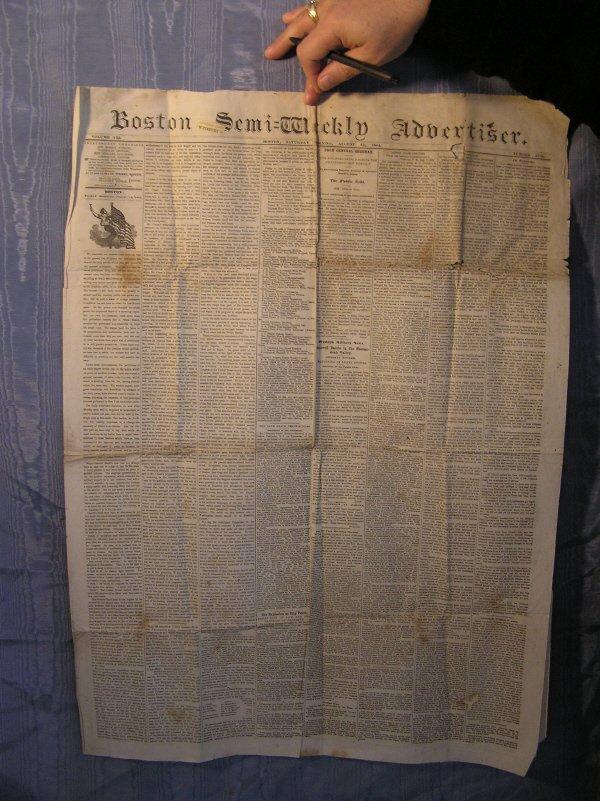13: Boston Semi Weekly Newspaper dated Aug. 13, 1864