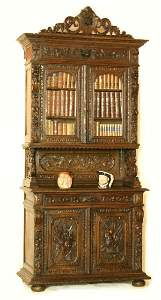 156: Highly Carved Hunting Lodge Bookcase