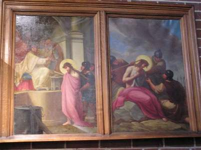 193: Group of Oil on Canvas 12 Stations of the Cross
