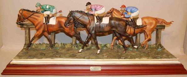 21: CORTESE ITALIAN CAPODIMONTE PORCELAIN HORSE RACE