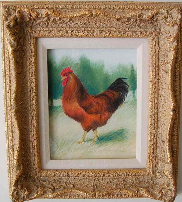 9: JANET EMMA BOYD PASTEL ROOSTER PAINTING