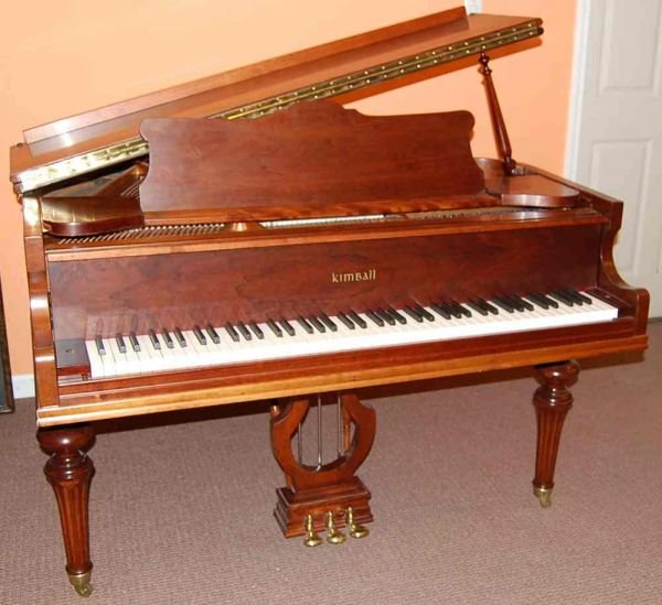 """16: KIMBALL CHERRY 4'6"""" BABY GRAND PIANO"""