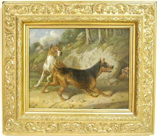1015: CARL FREDRIK KIOERBOE DOG PAINTING
