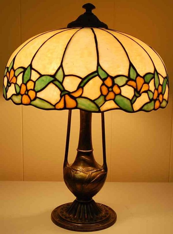 1021: J A WHALEY STAIN GLASS LAMP