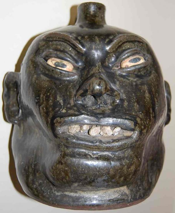 1033: SIGNED LANIER MEADERS ROCK TOOTH FACE JUG